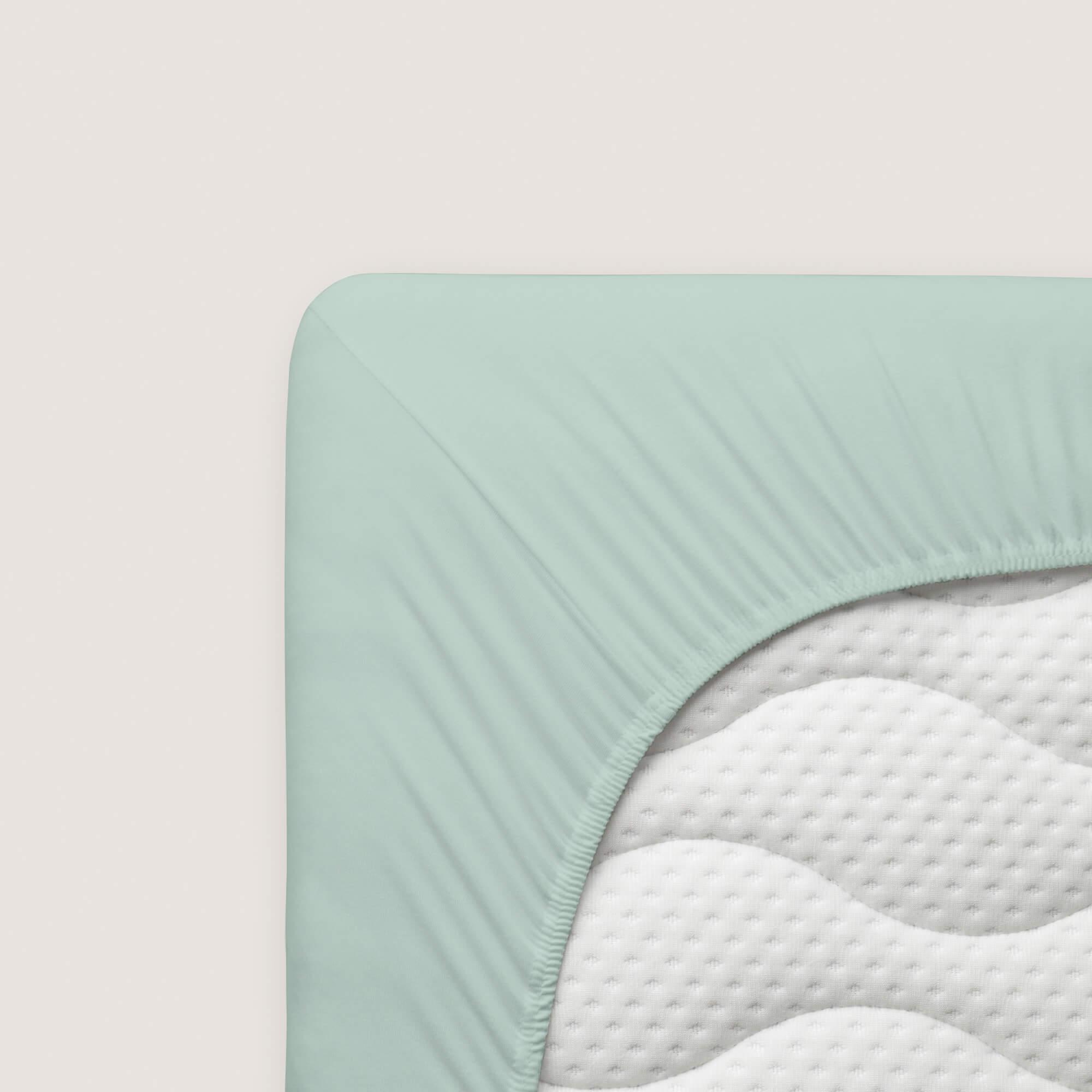 hellgruenes schlafgut Spannbettlaken Zwirn Jersey aus Baumwolle/Elasthan