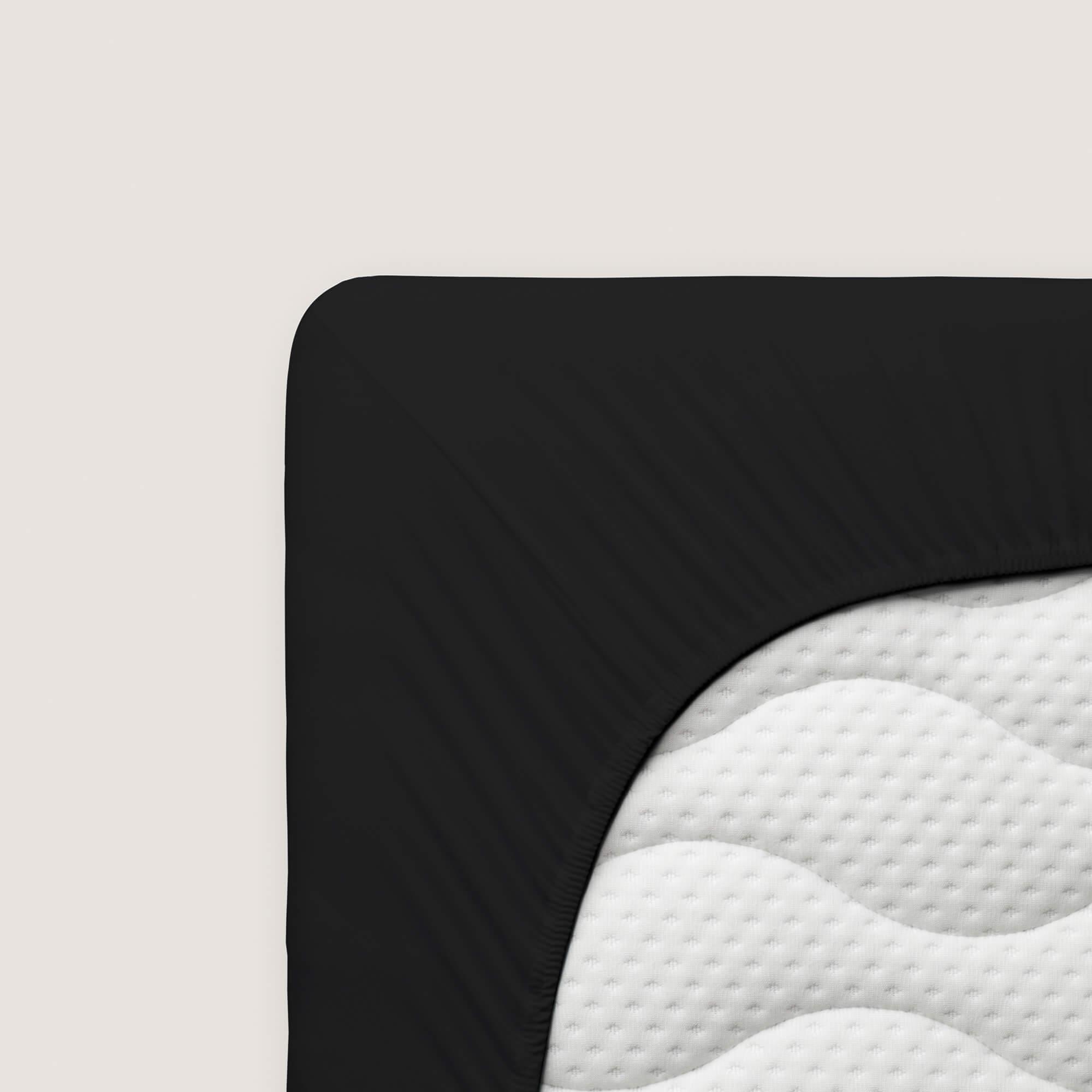 schwarzes schlafgut Spannbettlaken Zwirn Jersey Premium aus Baumwolle/Elasthan