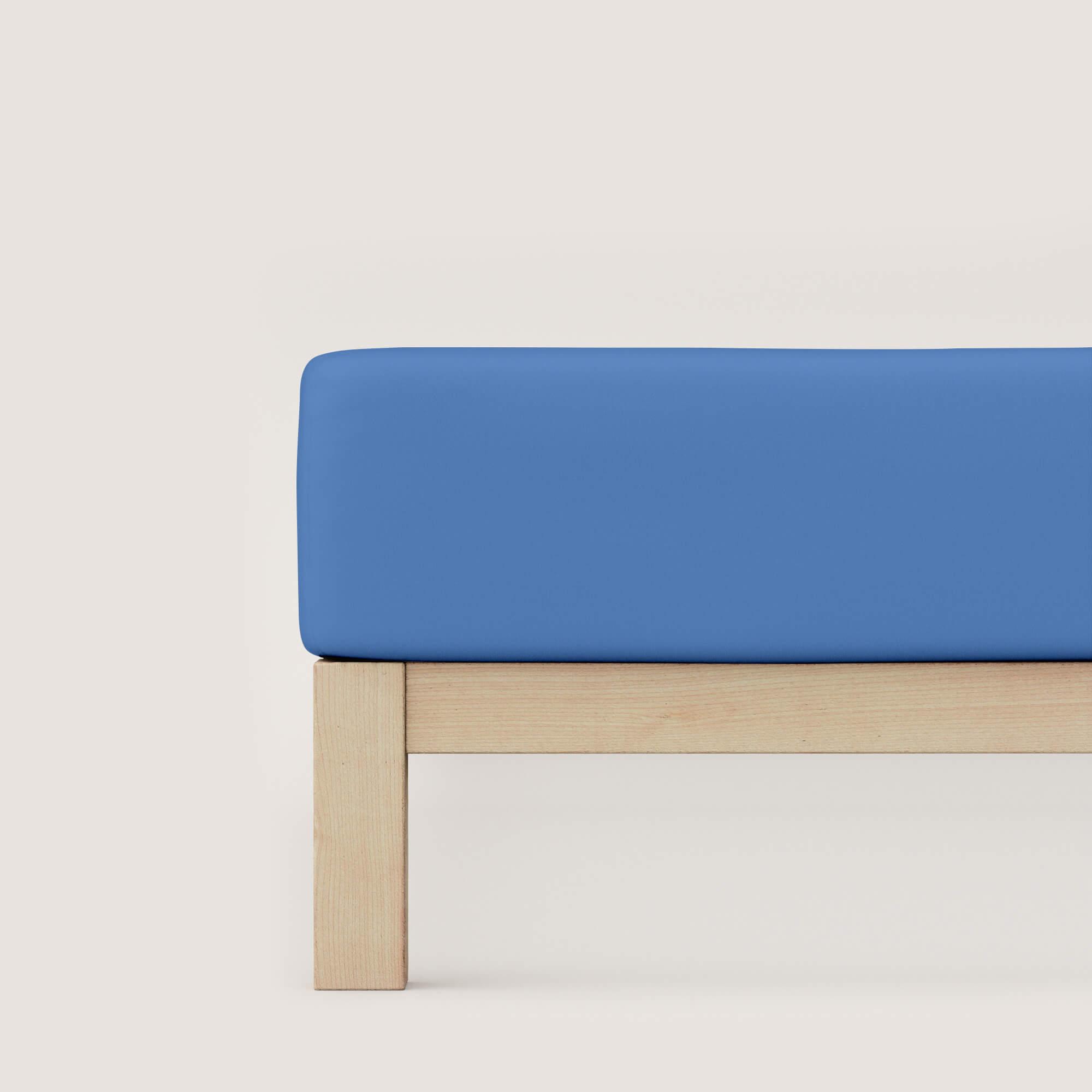 blaues schlafgut Spannbettlaken Mako Jersey aus Baumwolle