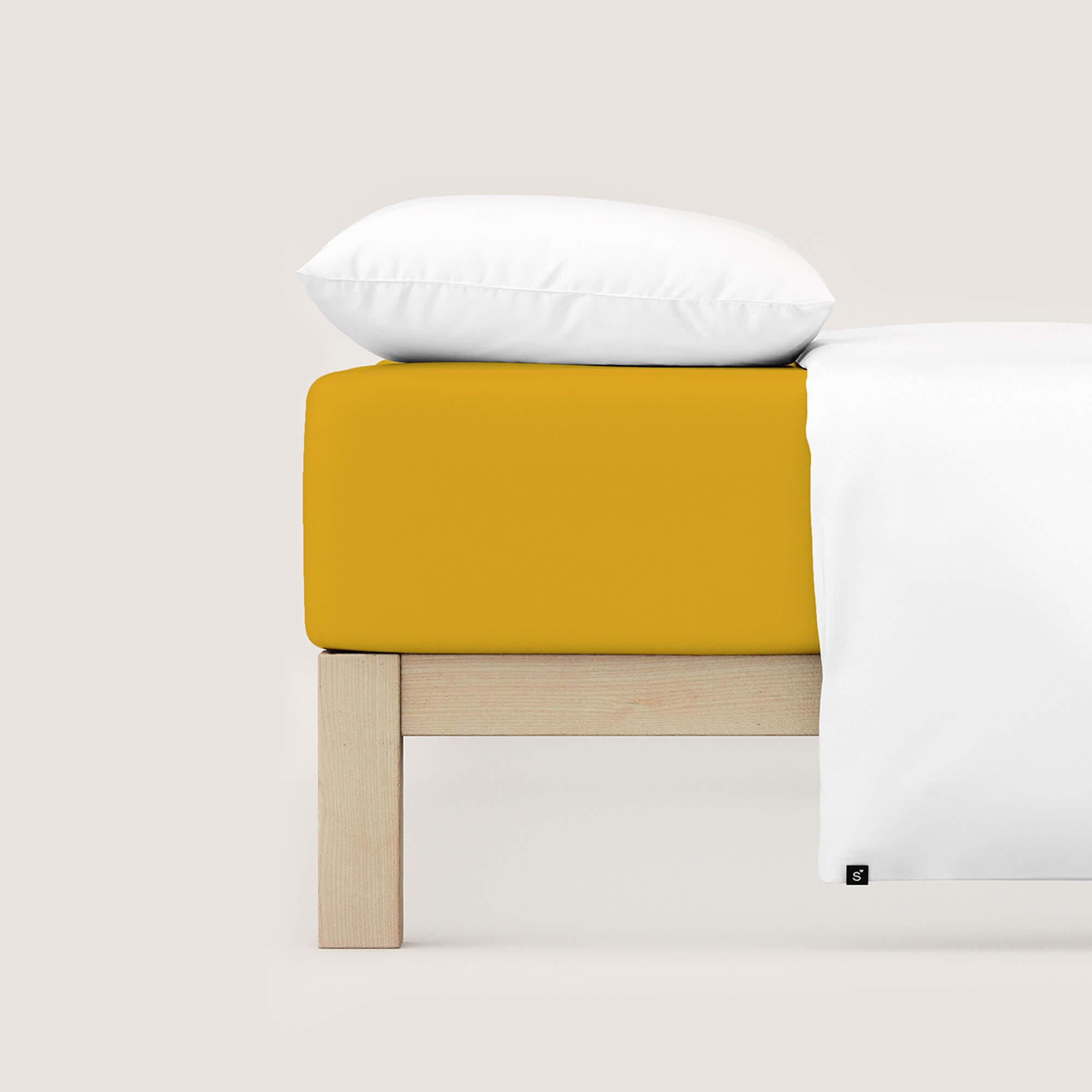 gelbes schlafgut Spannbettlaken Jersey Pure aus Bio-Baumwolle/Elasthan